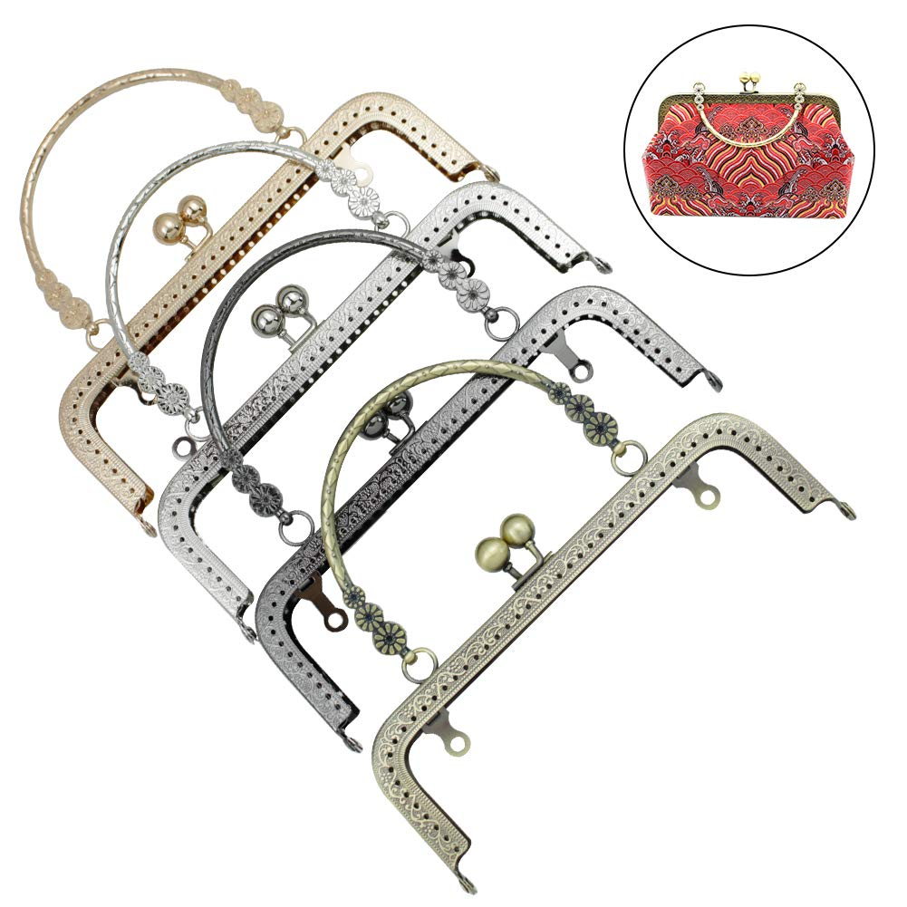 ADIYFrame 8pcs Purse Handle Frame for Bag Small Ball Clasp Sew in Clutch Purse Square Three Golden Flowers Shot Frames by GuoFa Flagship Store