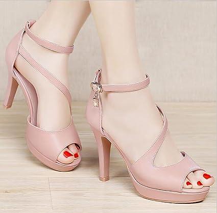 f1f49e2c7dd Amazon.com  Sandals High-heeled shoes High-heeled Joker Korean Summer shoes  Roman sandals Fish head shoes Flat Sandals