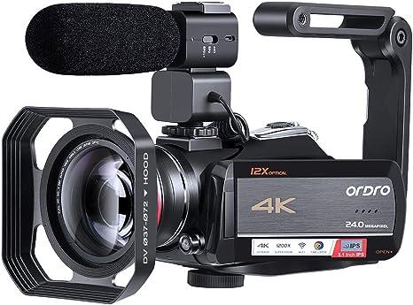 Videocámara 4K, Cámara de Video ORDRO AC5 con Zoom óptico de 12x ...