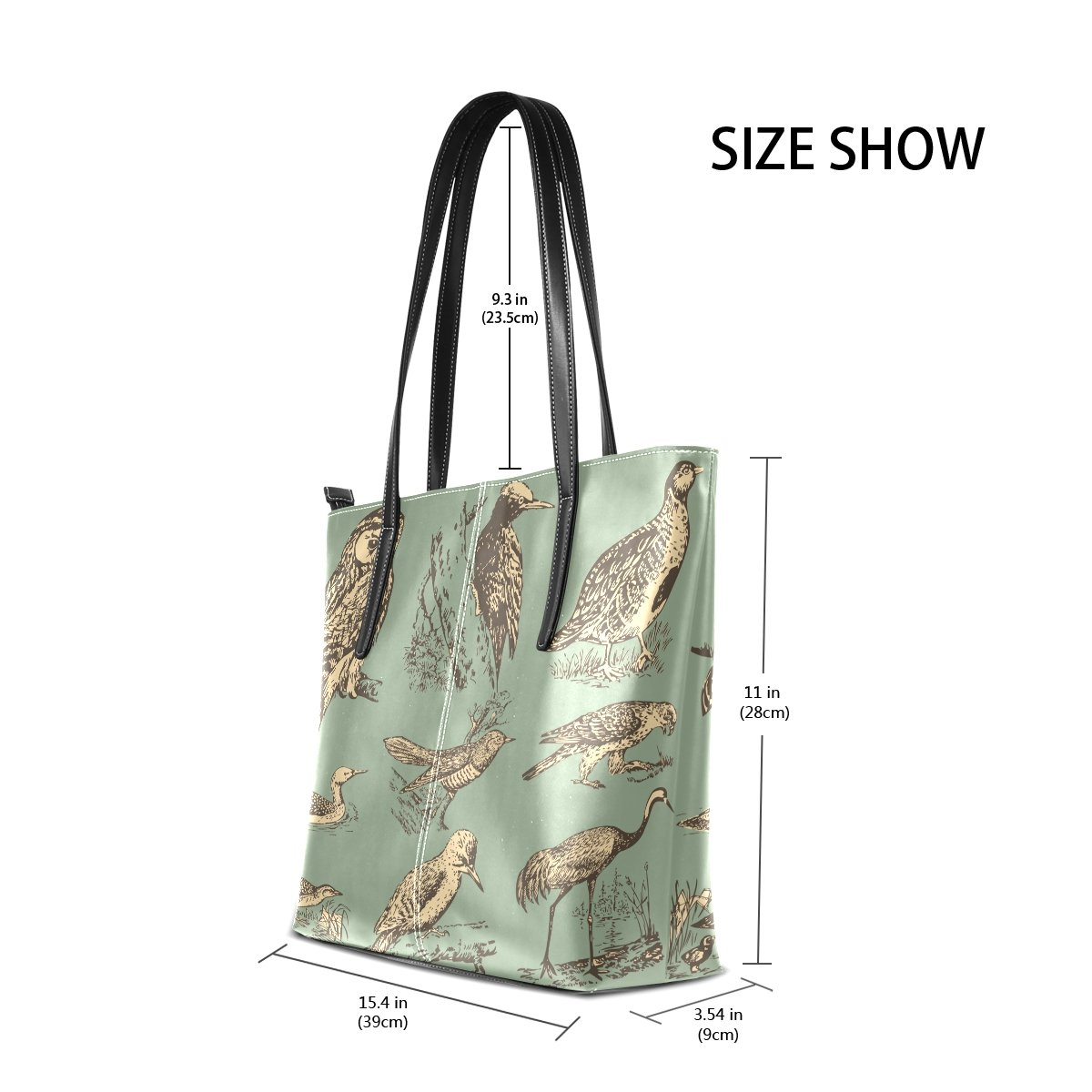 Womens Leather Top Handle Shoulder Handbag Birds Large Work Tote Bag
