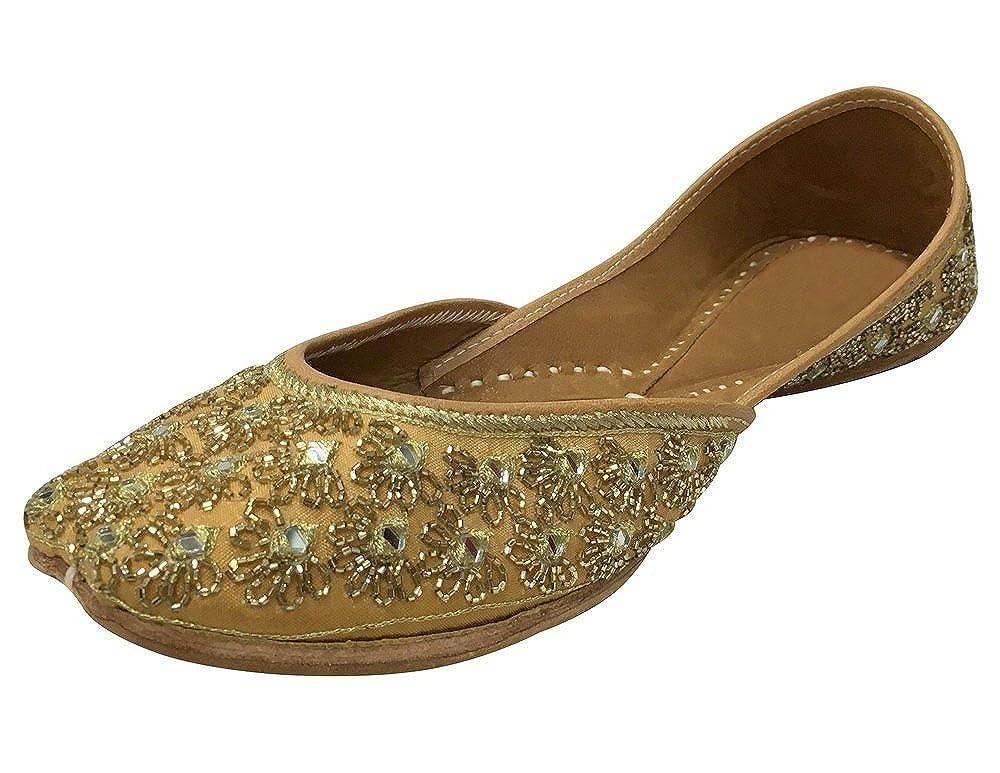 Step n Style Women Khussa Shoes Punjabi Jutti Copper Zari & Beaded Work Mojari SS76