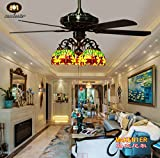 Makenier Vintage Tiffany Style Stained Glass 5-light Dragonfly Downlight Ceiling Fan Light Kit - with Plywood Blades