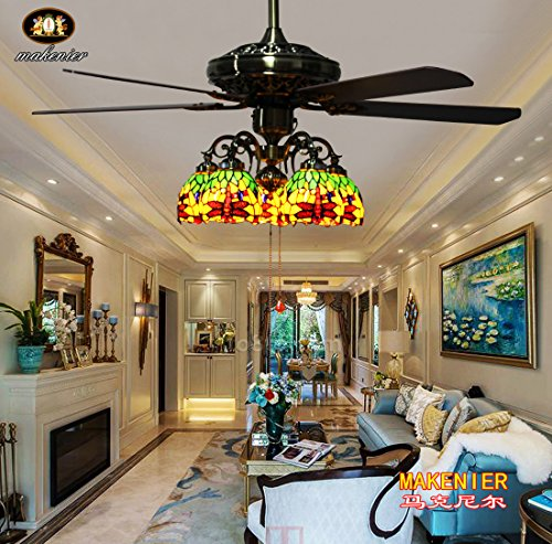 Makenier Vintage Tiffany Style Stained Glass 5-light Dragonfly Downlight Ceiling Fan Light Kit, with Plywood Blades (Downlights Tiffany Ceiling Lamp)