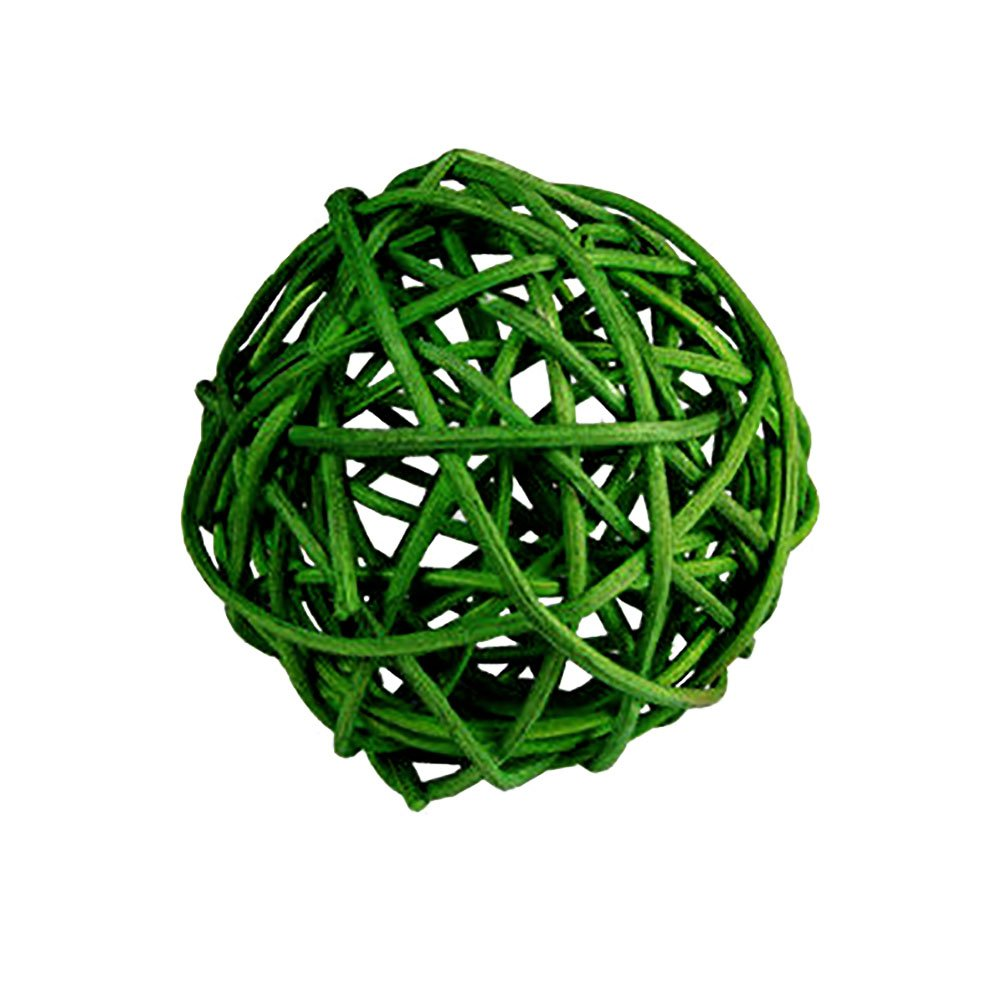 "Custom & Fancy {2"" Inch} Approx 600 Pieces of Large Round Ball ""Table"" Party Confetti Made of Premium Rattan w/ Modern Contemporary Bright Unique Creative Natural Outdoor Twig Stem Nest Design [Green]"