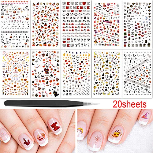 Halloween Nail Art Easy (20 Sheets Halloween Nail Stickers Self Adhesive Nail Decals Stickers Art Manicure Decorations with Tweezers for Women Girls)