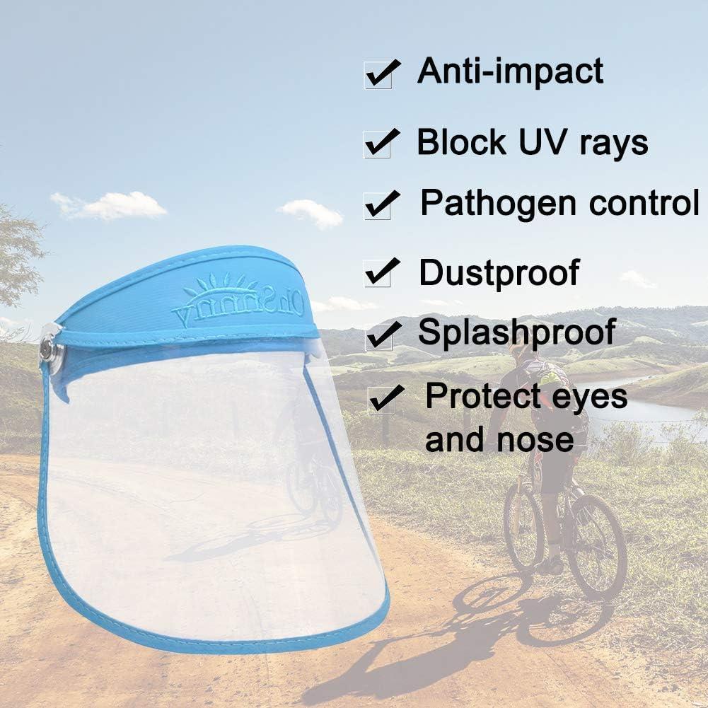FEOYA Protector Facial Unisex Anti-vaho Anti-escupir Sombrero para el Sol Ajustable con Tapa Transparente Visor de Cara Completa Taller a Prueba de Viento Taller Cocina al Aire Libre Limpieza