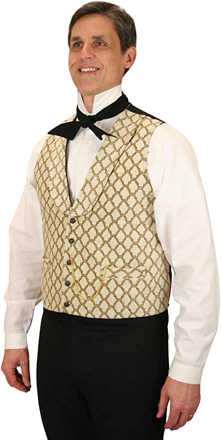 Edwardian Men's Fashion & Clothing 1900-1910s Historical Emporium Mens Tapestry Mansfield Dress Vest  AT vintagedancer.com