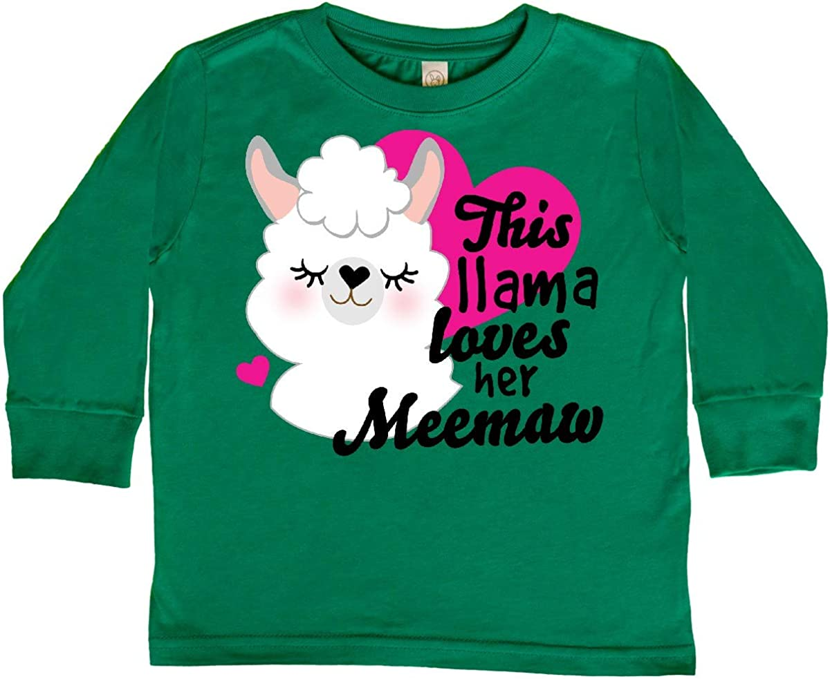 inktastic Valentines Day This Llama Loves Her Meemaw Toddler Long Sleeve T-Shirt