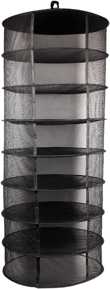 Growsun 2ft 8 Layer Black Mesh Hanging Herb Drying Rack Dry Net