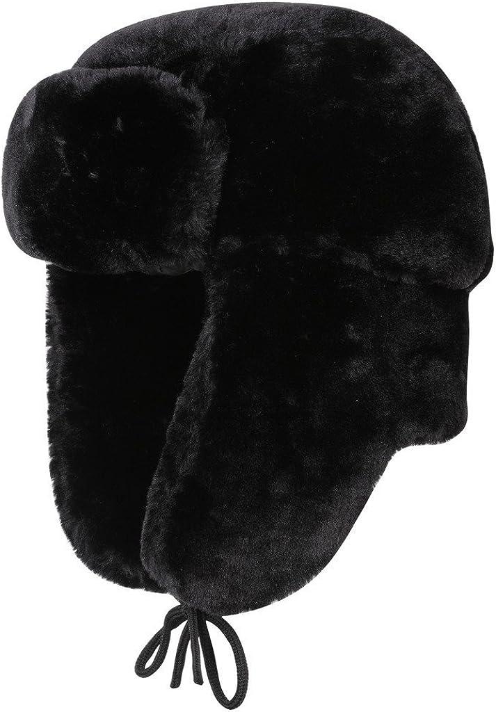 vogueearth Uomos Real Coniglio Pelliccia//Pelliccia Sintetica Faux Fur Due Materiali Scelgono Inverno Pi/ù Caldo Bombardiere Ushanka Cappello Berretto Ski cap Inverno Proteggere orecchio