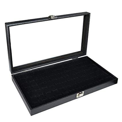 Amazoncom Ikee Design Glass Top Black Jewelry Display Case With 72