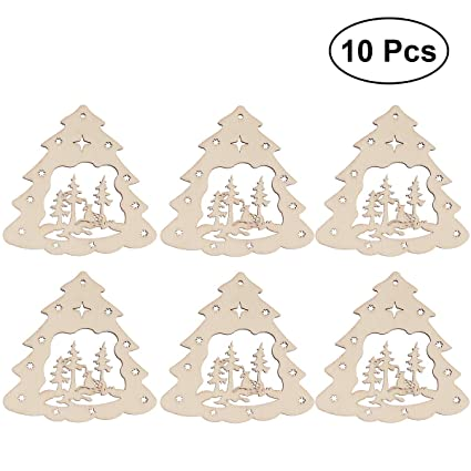 bestoyard 10pcs christmas tree wooden discs wood cutout slices for patchwork diy crafting decor christmas wooden