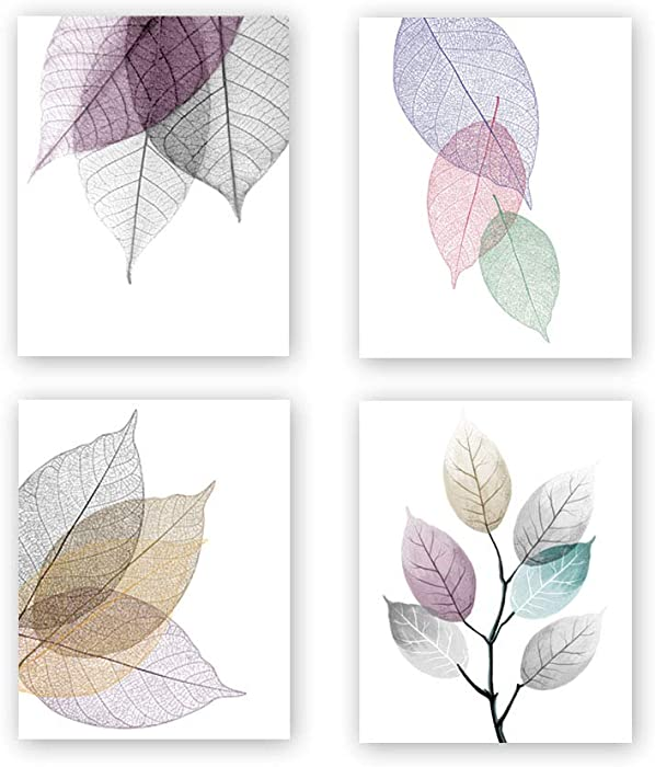 Unframed Macro Leaves Texture Art Painting, Abstract Colorful Skeleton Leaf Veins Art Print Set of 4(8''x10'')Canvas Modern Art Picture Minimalist Foliage Plant Artwork