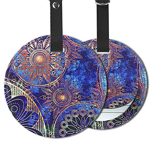 Cheliz PU Leather Round Luggage Tags Suitcase Labels Bag - Set of 2 (Blue Flower-2) (Luggage Tag Pattern)
