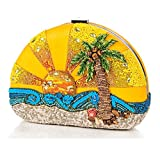 Mary Frances Here Comes the Sun Limited Edition Beaded Bejeweled Sunrise Ocean Palm Tree Handbag Shoulder Bag