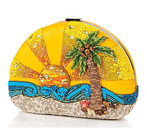 Mary Frances Here Comes the Sun Limited Edition Beaded Bejeweled Sunrise Ocean Palm Tree Handbag Shoulder Bag by Mary Frances