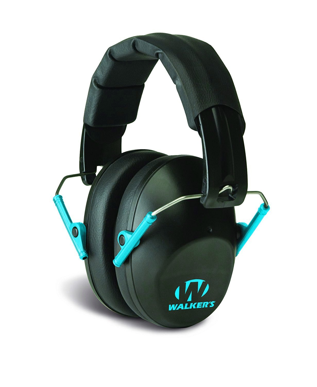 Walker's Passive Low Profile Folding Muff- Black/Teal by Walker's Game Ear