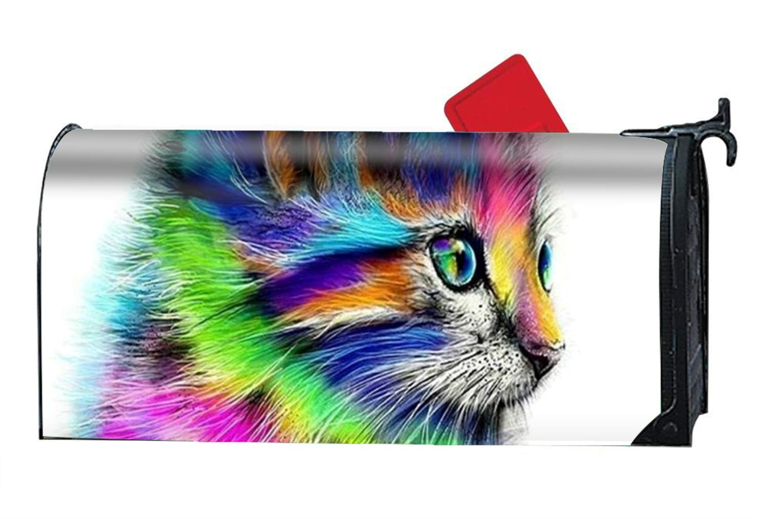 BABBY 9X21 Inches Rainbow Cat Mailbox Cover- Magnetic Strips for Steel Standard Rural Mailbox by BABBY