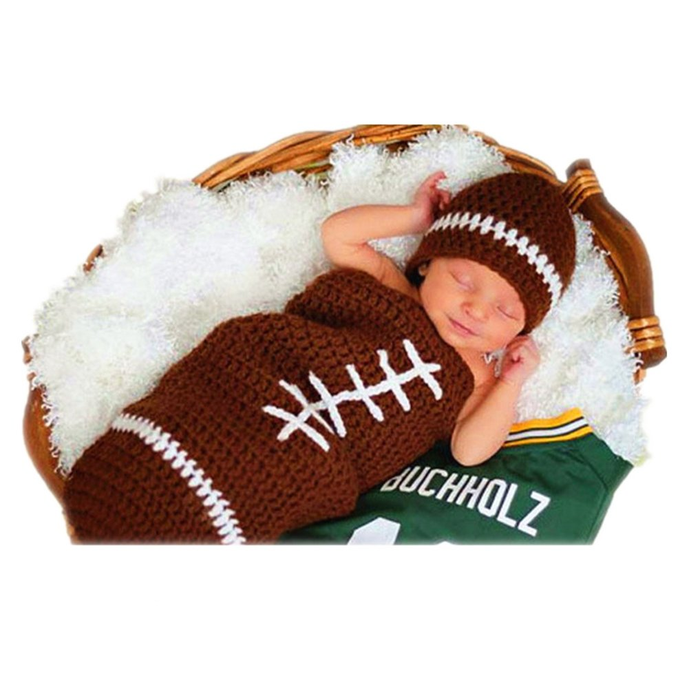 SIKEMAY Unique Newborn Boy Girl Costume Knitted Outfits Baby Photography Props Football Hat Sleeping Bag Set