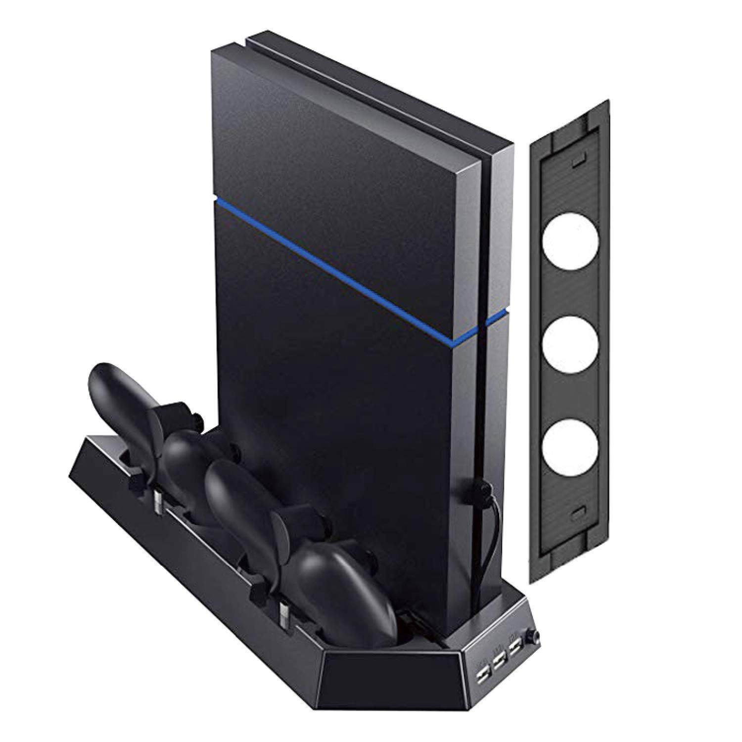 Vertical Stand with Cooling Fan for PS4 Slim / Pro / Regular PlayStation 4, Controllers Charging Station with Dual Charger Ports and USB HUB for Console Dualshock 4 Controller by ARESOUL
