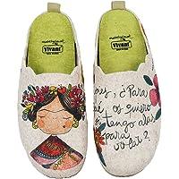 Zapatillas casa mujer fieltro Frida cómodas frase bonita - Garantía de calidad