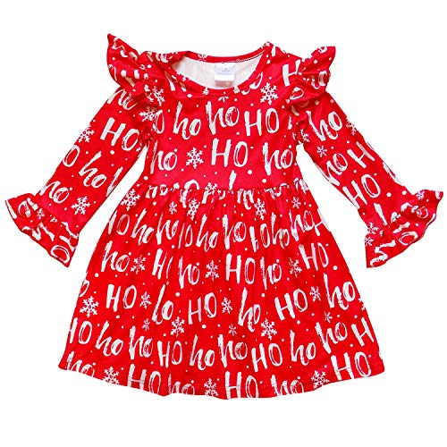 So Sydney Girls Toddler Fall Winter Christmas Boutique Holiday Dress Long Sleeves (XL (6), Ho Ho Ho)