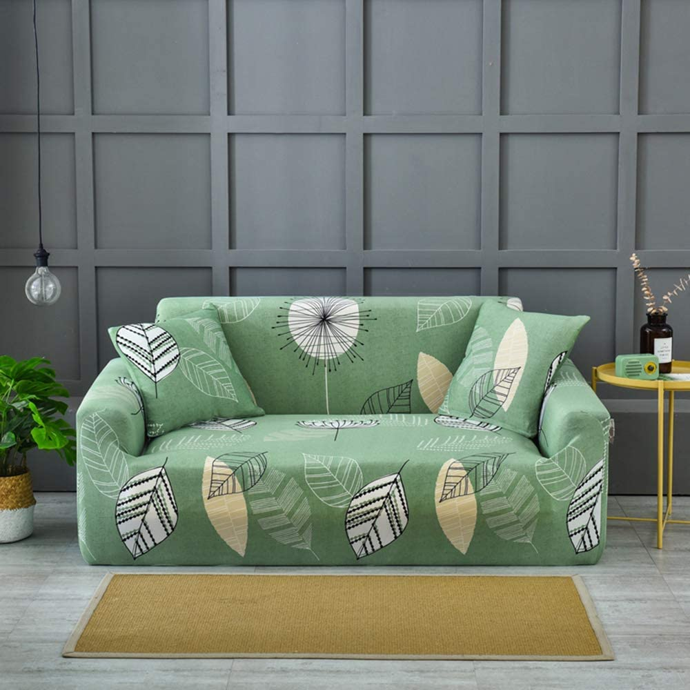 HIFUAR Fundas Sofa Elasticas 2 Plazas,Moderna Fundas para Sofás Cubierta de Sofa Estampadas Cubre Sofa Universal,Desmontable y Lavable,Fundas Protector para Sofás Sillones(Ramas/Verde)