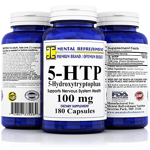 Mental Refreshment: 5-HTP: 100 mg 180 capsules (1 Bottle) by Mental Refreshment Nutrition