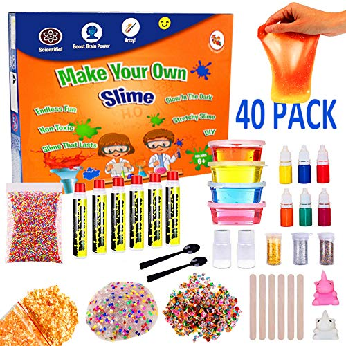 - Slime Making Kit For Girls, Boys, Kids and Children | Create Ultimate DIY Crunchy Stretchy Floam Fluffy Galaxy Cloud Putty with Containers | Activator Clear Glue and Prime Supplies Accessories