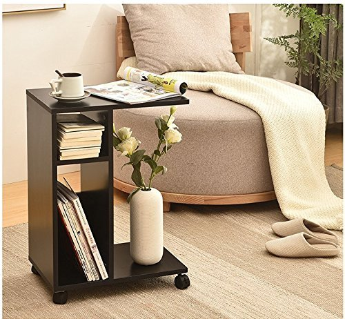 WSTECHCO Modern End Tables for Living Room Wooden,Black Sofa Side Table with Storage Magazine with Wheel Night Stand for Bedroom, Movable Tea Coffee Table Wooden Table