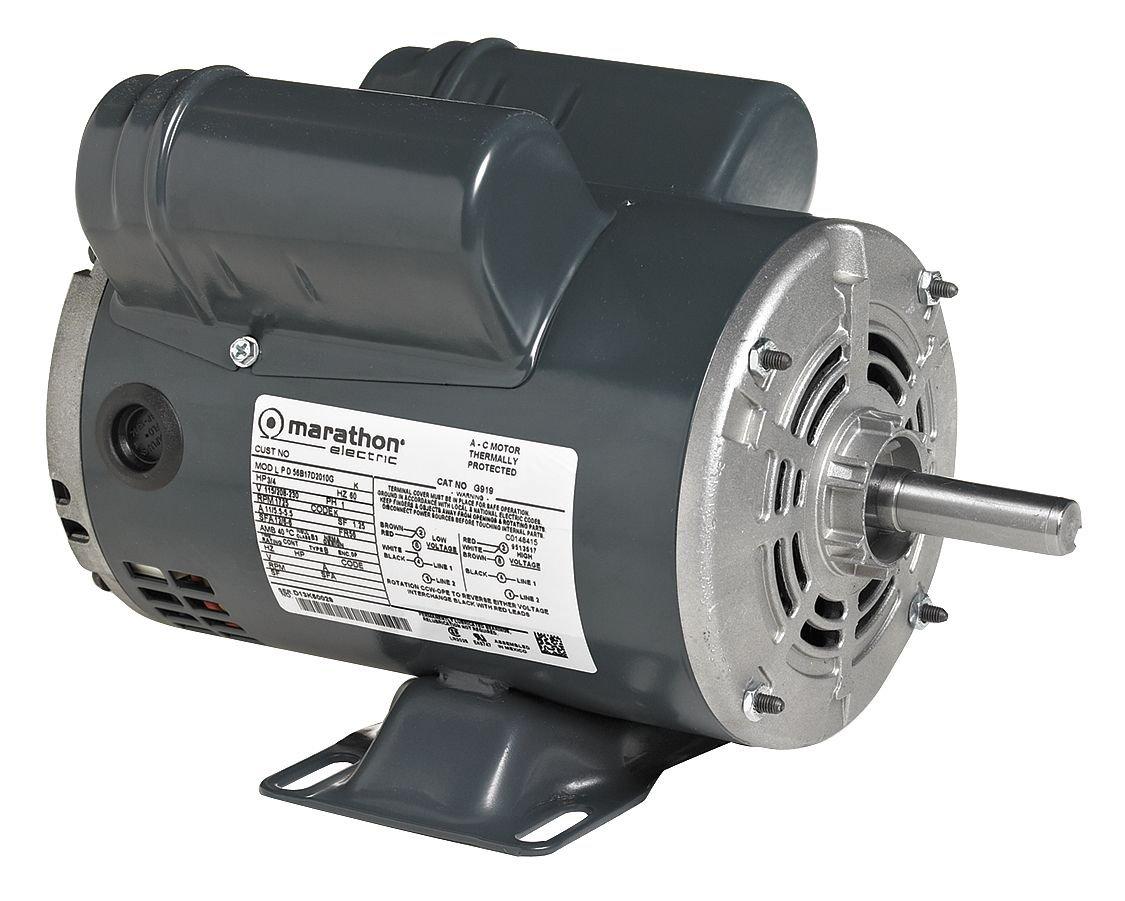 2 hp 1 Phase Capacitor Start Marathon Electric MI102 04103020 Ball Bearing 1 Speed Rigid Base Marathon I102 145T Frame Open Drip Proof 145TBDR5302 General Purpose Motor 115//208-230 VAC 3600 rpm