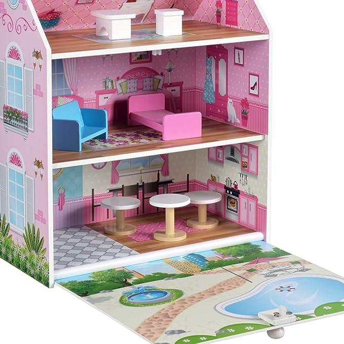 ColorBaby - Casa muñecas 34 x 22 x 40 cm (85295): Amazon.es: Juguetes y juegos