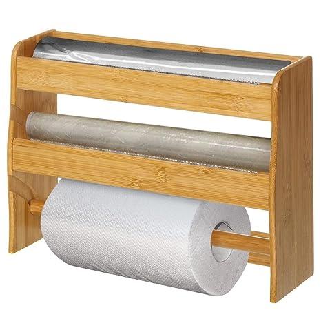 Bakaji Dispenser Portarotolo da Parete Cucina In Legno di Bambu\' 3 ...