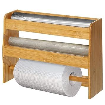 Bakaji Spender Wand-Küchenrollenhalter aus Holz von Bambu \'3-Rollen ...