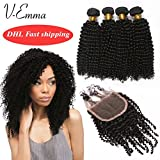 V-Emma Malaysian Virgin Hair Kinky Curly Lace Closure With Bundles Bleached Knots 100% Human Hair 4 Bundles With 3 part Closure 22x22x22x22+20