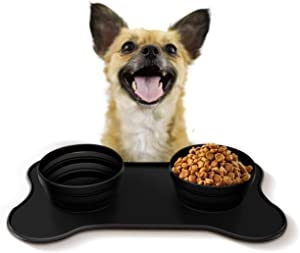 Yipetor Dog Bowls with Mat, Portable Foldable Travel Cats Dogs Bowls, No Spill & Non-Skid Silicone Mat, Pet Feeding Watering Dish for Walking Parking Traveling Hiking Camping