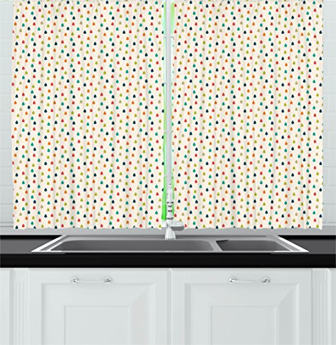 Ambesonne Retro Kitchen Curtains, Colorful Graphic Design Waterdrops on White Background Tile Pattern for Kids Print, Window Drapes 2 Panels Set for Kitchen Cafe, 55 W X 39 L Inches, Multicolor 61344Gnv8qL