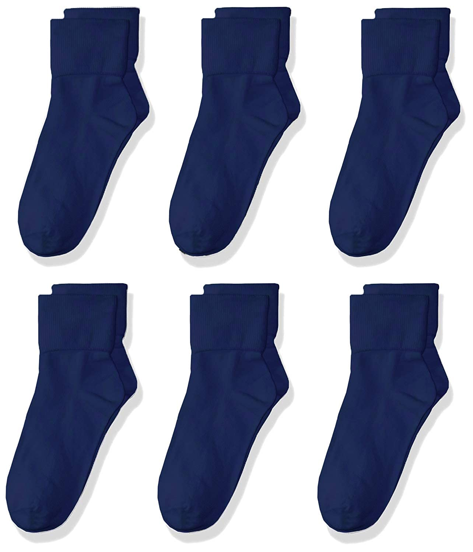 trimfit Girls Big 6 Pack Single Cuff Quarter Crew Socks comfortoe