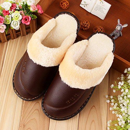 LaxBa Femmes Hommes Chaussures Slipper antiglisse intérieur brun foncé 27=3940