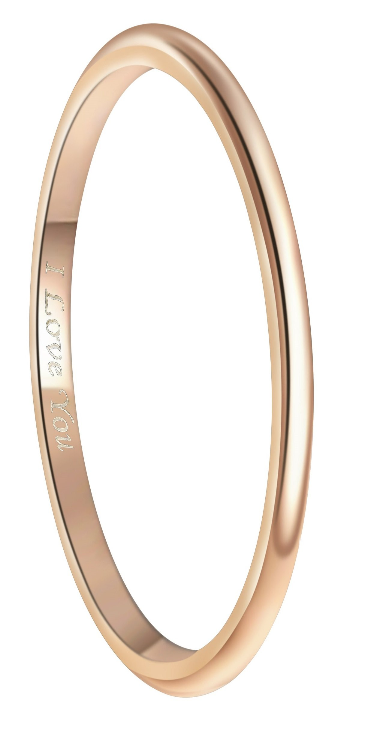 Crownal 2mm 18K Rose Gold Plated Tungsten Wedding Couple Bands Rings Women Plain Dome Polished Engraved''I Love You'' Size 3 To 13 (2mm,9.5)