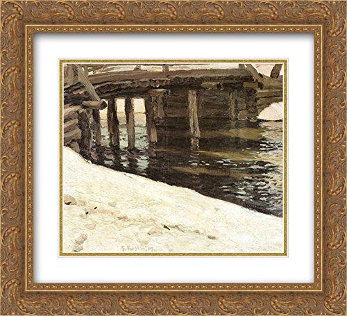 Ferdynand Ruszczyc 2x Matted 22x20 Gold Ornate Framed Art Print 'Most - Zima Frame