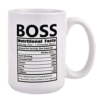 c1cf3ac9469 Amazon.com: Funny Coffee Mug Boss Nutritional Facts Coffee Tea Cup Novelty  Gift for Men Boss Friends Birthday: Kitchen & Dining