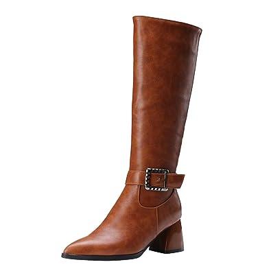 YE Bottes Femme Mi-Mollet Haut Bout Pointu Talon 6cm Bloc Chunky Boots avec  Boucle Women Ankle Boots Shoes for Winter Chaussures Zip Longue  Amazon.fr   ... aa553c11746f