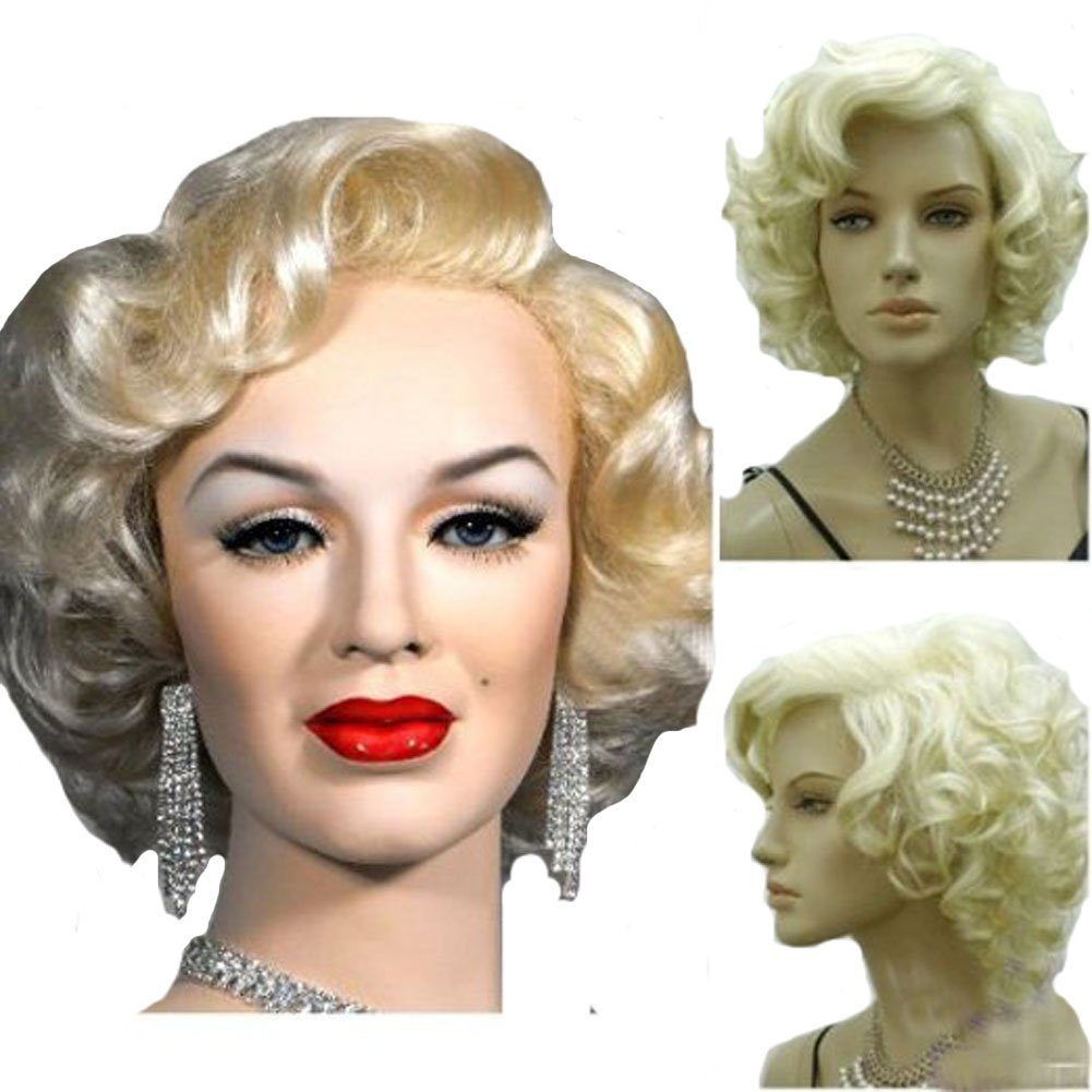 KOLIGHT Marilyn Style Wig Women Short Curly Sexy Cosplay Costume Party Hot Quality Hair Wig Girls Free Cap+ Comb by KOLIGHT