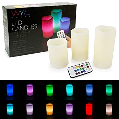 """WYZworks LED Ivory Flickering Flameless Candles - Set of 3 [ 4"""" 5"""" 6"""" ] Multicolor Changing with Remote Control Weatherproof Indoor & Outdoor Realistic Faux Wax Drips: Home Improvement"""