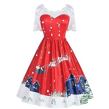 SMILEQ Vestido de Mujer de Bola de Navidad Vestido Falda Talla ...