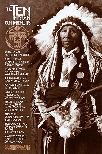 The Ten Indian Commandments Poster 24 x 36in (Ten Native American Commandments)