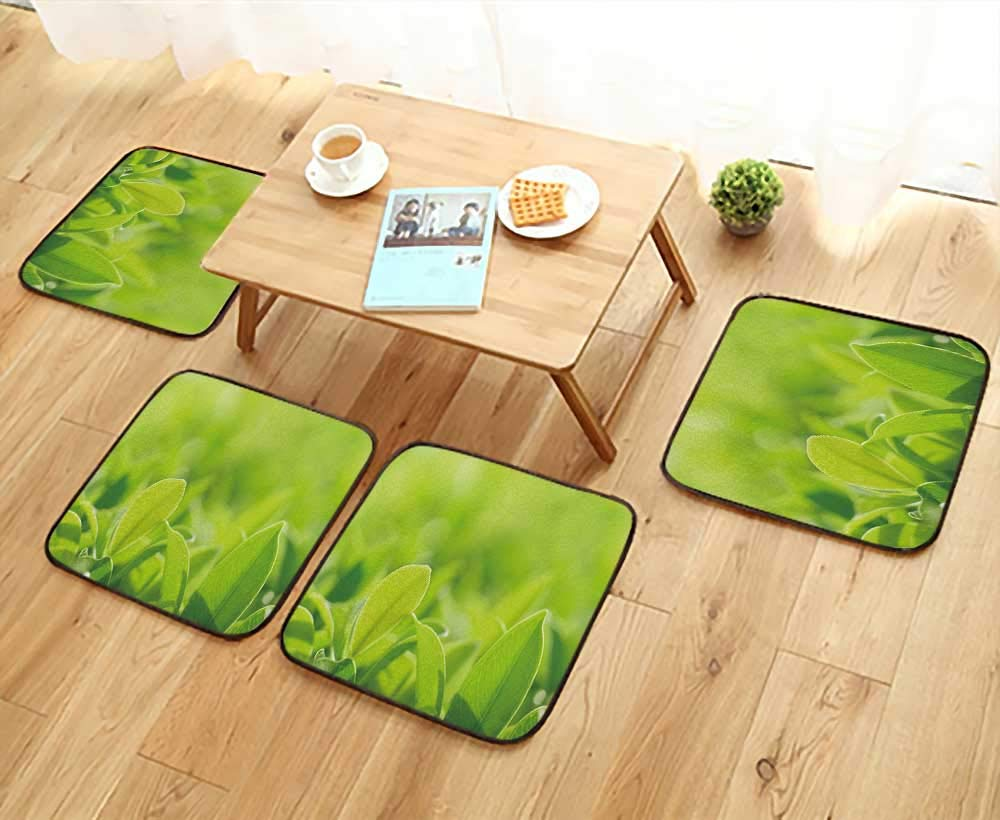 UHOO2018 Anti-Skid Chair Cushions Closeup Nature Green Leaf in Garden at Summer Under Sunlight Natural Green Plants Health is Convenient W19.5 x L19.5/4PCS Set