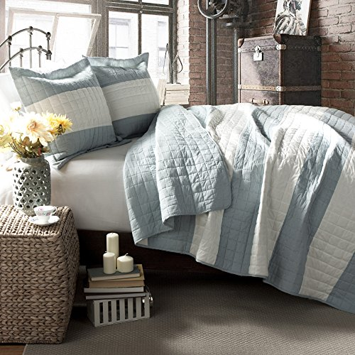 For Sale! Lush Decor Berlin Stripe 3 Piece Quilt Set, King, Blue