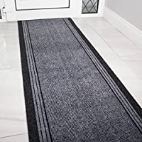 The Rug House Grey Rubber Backed Very Long Hallway Hall Runner Narrow Rugs Custom Length - Sold and Priced Per Foot